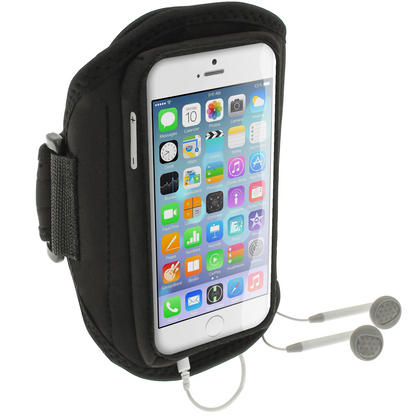 """iGadgitz Water Resistant Black Sports Jogging Gym Armband for Apple iPhone 6 & 6S 4.7"""" Thumbnail 4"""