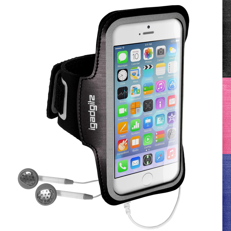 "iGadgitz Reflective Anti-Slip Sports Jogging Gym Armband for Apple iPhone 6 & 6S 4.7"" with Key Slot"