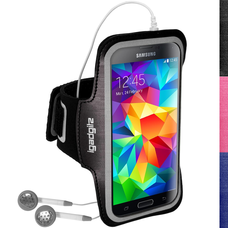iGadgitz Reflective Anti-Slip Sports Armband for Samsung Galaxy S5 SV MINI SM-G800F with Key Slot (various colours)