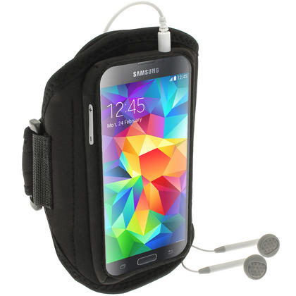 iGadgitz Water Resistant Black Sports Jogging Gym Armband for Samsung Galaxy S5 SV MINI SM-G800F Thumbnail 4