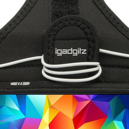 iGadgitz Water Resistant Black Sports Jogging Gym Armband for Samsung Galaxy S5 SV MINI SM-G800F Thumbnail 3