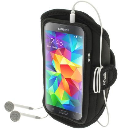 iGadgitz Water Resistant Black Sports Jogging Gym Armband for Samsung Galaxy S5 SV MINI SM-G800F Thumbnail 1