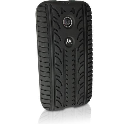 iGadgitz Black Tyre Rubber Silicone Gel Skin Case Cover for Motorola Moto E XT1021 + Screen Protector Thumbnail 4