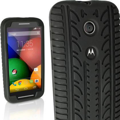 iGadgitz Black Tyre Rubber Silicone Gel Skin Case Cover for Motorola Moto E XT1021 + Screen Protector Thumbnail 1