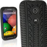 iGadgitz Black Tyre Rubber Silicone Gel Skin Case Cover for Motorola Moto E XT1021 + Screen Protector