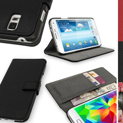 iGadgitz Premium Black PU Leather Case for Samsung Galaxy S5 MINI SM-G800F With Card Slots, Stand + Screen Protector Thumbnail 1