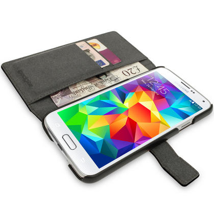 iGadgitz Premium Black PU Leather Case for Samsung Galaxy S5 MINI SM-G800F With Card Slots, Stand + Screen Protector Thumbnail 4