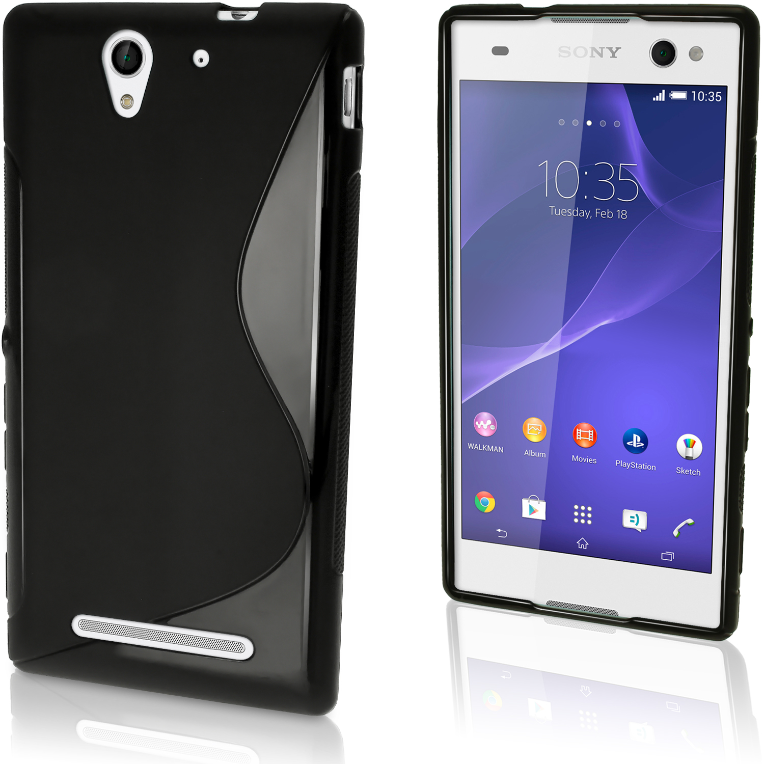 iGadgitz S Line Wave Glossy TPU Gel Skin Case Cover for Sony Xperia C3 D2533 + Screen Protector (various colours)