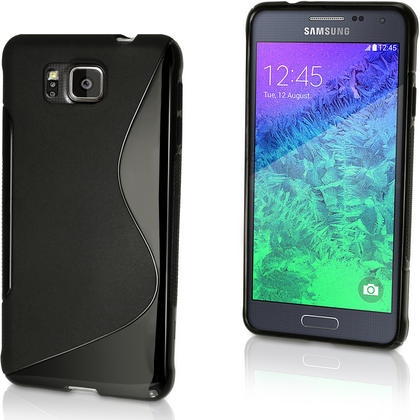 iGadgitz S Line Wave Glossy TPU Gel Skin Case Cover for Samsung Galaxy Alpha SM-G850 + Screen Prot. (various colours) Thumbnail 1