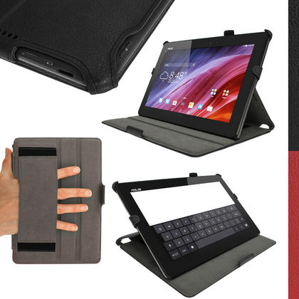 iGadgitz Black PU Leather Case for Asus Transformer Pad TF103C with Stand, Sleep/Wake, Hand Strap + Screen Protector Thumbnail 1
