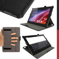 iGadgitz Black PU Leather Case for Asus Transformer Pad TF103C with Stand, Sleep/Wake, Hand Strap + Screen Protector