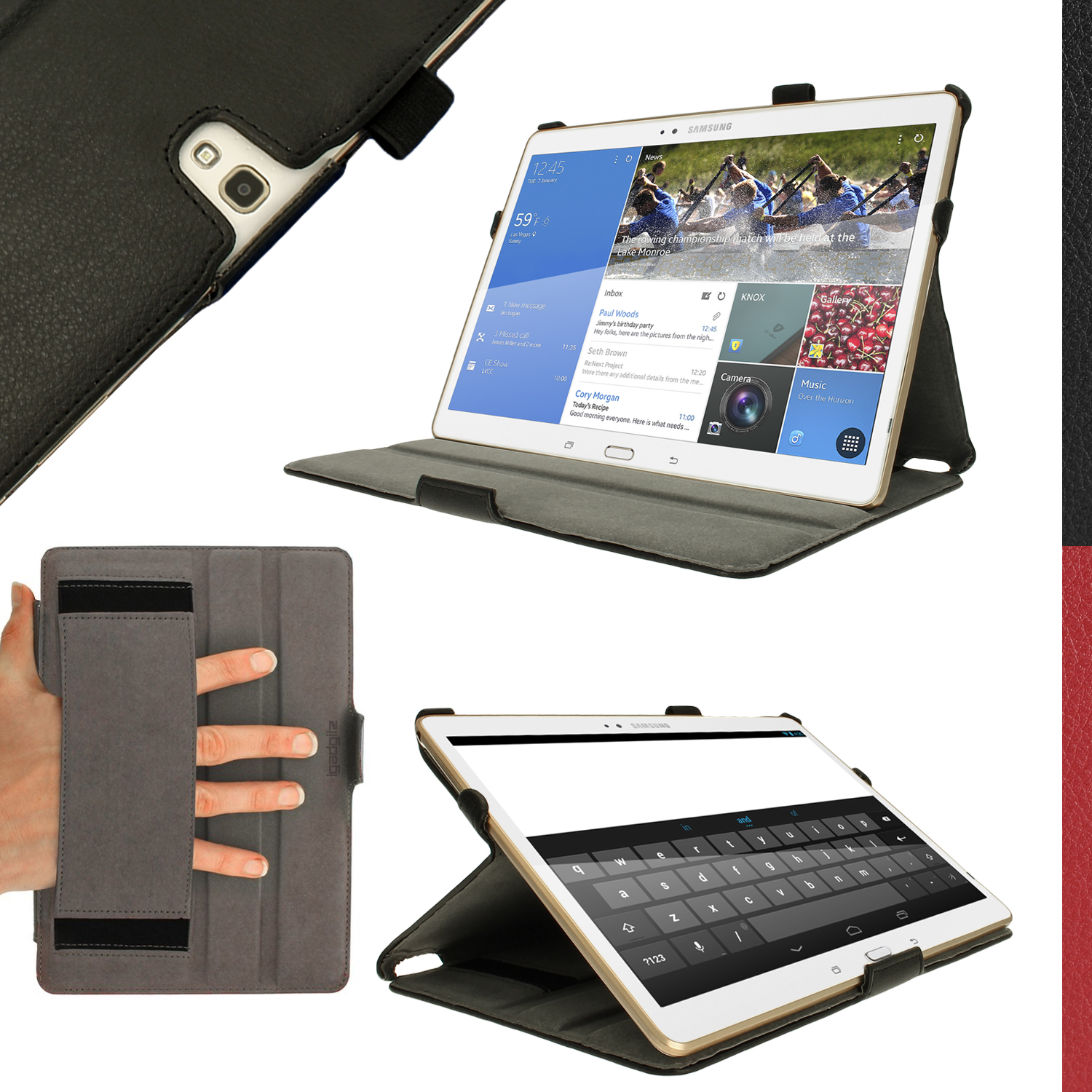 """iGadgitz Black PU Leather Case for Samsung Galaxy Tab S 10.5"""" SM-T800 with Stand, Sleep/Wake, Hand Strap + Screen Prot"""