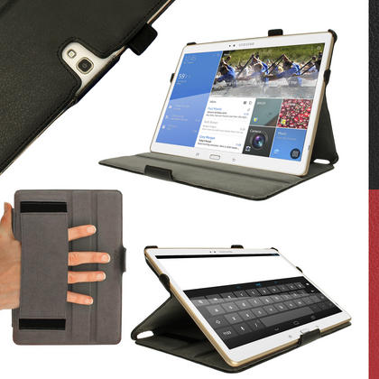 """iGadgitz Black PU Leather Case for Samsung Galaxy Tab S 10.5"""" SM-T800 with Stand, Sleep/Wake, Hand Strap + Screen Prot Thumbnail 1"""