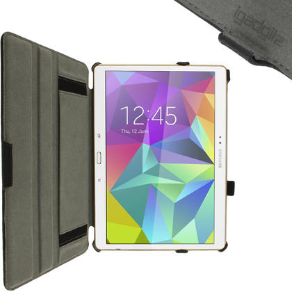 "iGadgitz Black PU Leather Case for Samsung Galaxy Tab S 10.5"" SM-T800 with Stand, Sleep/Wake, Hand Strap + Screen Prot Thumbnail 4"