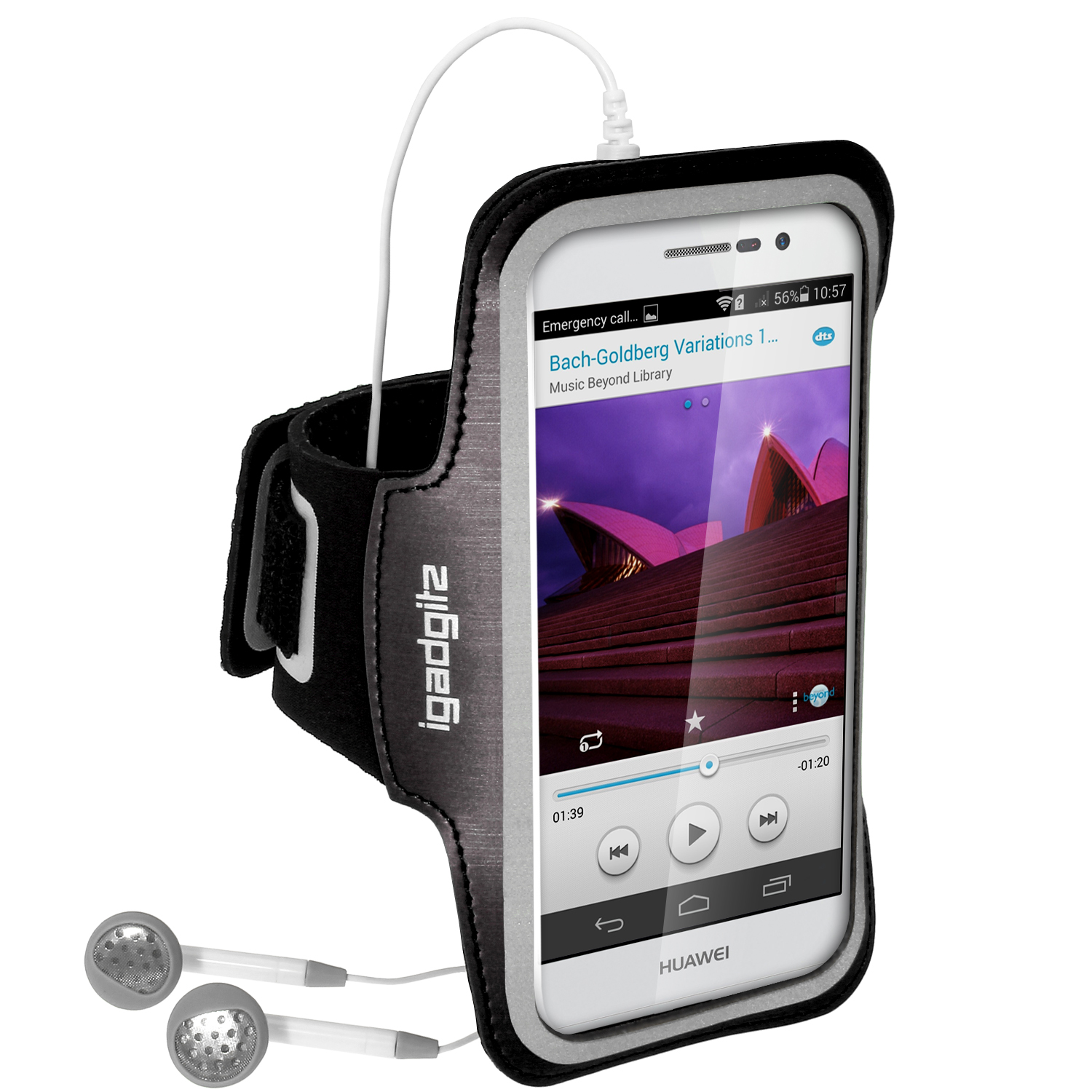 iGadgitz Reflective Anti-Slip Sports Jogging Gym Armband for Huawei Ascend P7 with Key Slot (various colours)