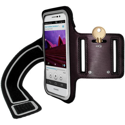 iGadgitz Reflective Anti-Slip Sports Jogging Gym Armband for Huawei Ascend P7 with Key Slot (various colours) Thumbnail 2