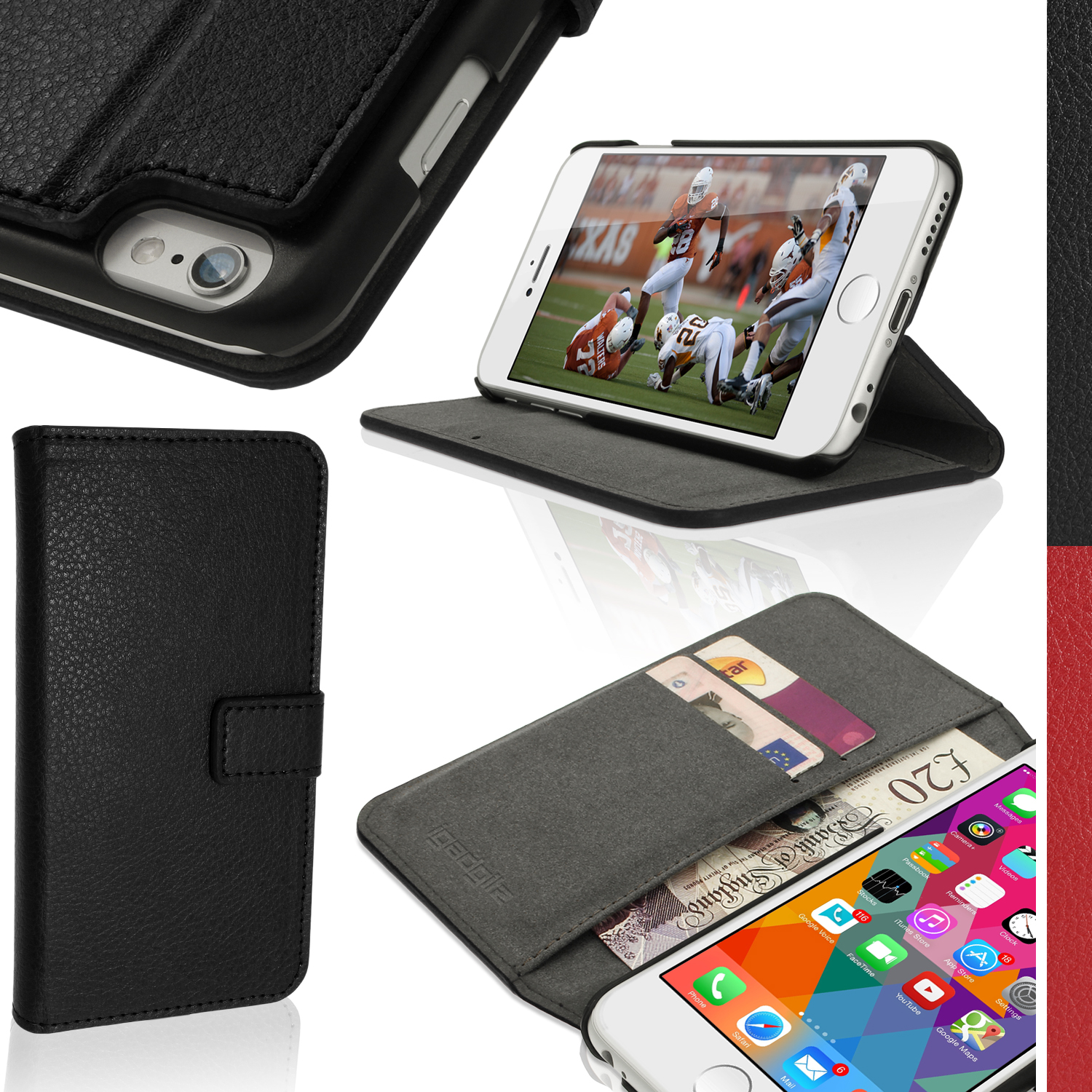 "iGadgitz Black PU Leather Case for Apple iPhone 6 & 6S PLUS 5.5"" with Card Slots, Stand, Magnetic Closure + Screen Prot"