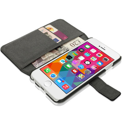 "iGadgitz Black PU Leather Case for Apple iPhone 6 & 6S PLUS 5.5"" with Card Slots, Stand, Magnetic Closure + Screen Prot Thumbnail 4"