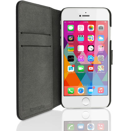 "iGadgitz Black PU Leather Case for Apple iPhone 6 & 6S PLUS 5.5"" with Card Slots, Stand, Magnetic Closure + Screen Prot Thumbnail 3"