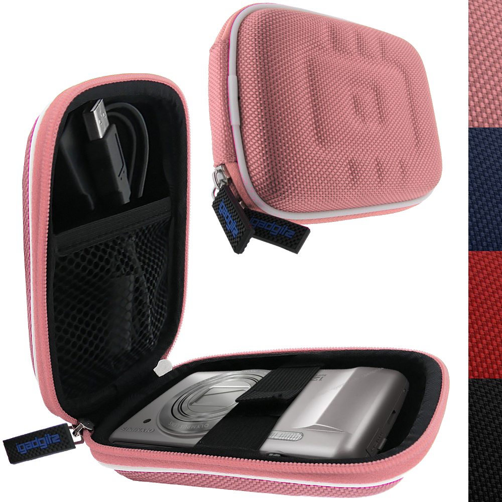 iGadgitz Pink EVA Travel Hard Case Cover for Digital Cameras / Video Pocket Camcorders