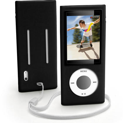 iGadgitz BLACK Silicone Skin Case for Apple iPod Nano 5th Gen (with Video Camera) + Screen Protector & Lanyard Thumbnail 1