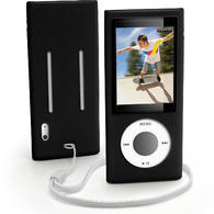 iGadgitz BLACK Silicone Skin Case for Apple iPod Nano 5th Gen (with Video Camera) + Screen Protector & Lanyard