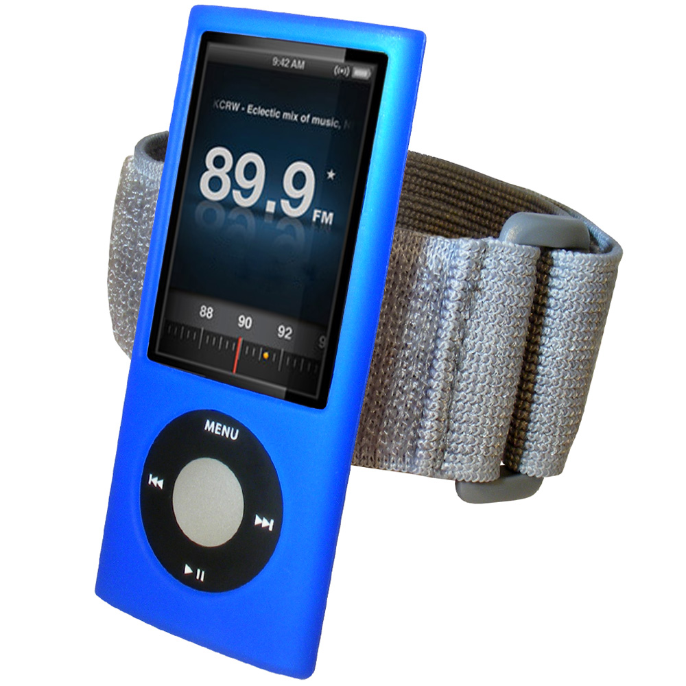 iGadgitz BLUE Silicone Skin Case & Armband for Apple iPod Nano 5th Gen (with Video Camera) + Screen Protector & Lanyard