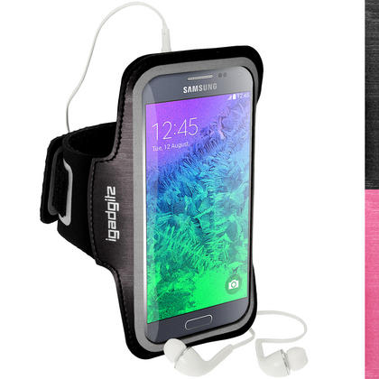 iGadgitz Reflective Anti-Slip Sports Gym Armband for Samsung Galaxy Alpha SM-G850 with Key Slot (various colours) Thumbnail 1