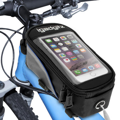 iGadgitz Reflective Water Resistant Front Top Tube Pannier Bike Frame Storage Bag with Phone, iPod, MP3, GPS Holder Thumbnail 2