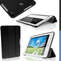 "iGadgitz Premium PU Fibre Textured Smart Cover Case for Acer Iconia Tab 8 A1-840FHD 8.0"" + Viewing Stand + Screen Prot."