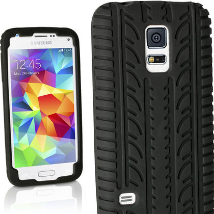 iGadgitz Black Tyre Tread Silicone Rubber Gel Skin Case Cover for Samsung Galaxy S5 Mini SM-G800F + Screen Protector Thumbnail 1