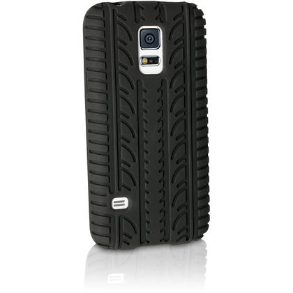 iGadgitz Black Tyre Tread Silicone Rubber Gel Skin Case Cover for Samsung Galaxy S5 Mini SM-G800F + Screen Protector Thumbnail 2