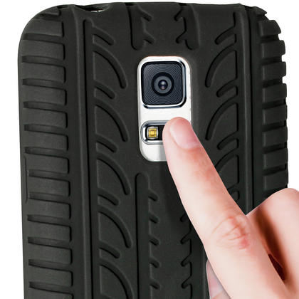 iGadgitz Black Tyre Tread Silicone Rubber Gel Skin Case Cover for Samsung Galaxy S5 Mini SM-G800F + Screen Protector Thumbnail 5