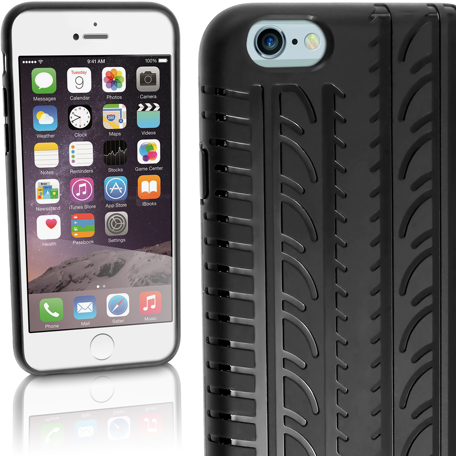 "iGadgitz Black Tyre Tread TPU Gel Skin Case Cover for Apple iPhone 6 & 6S 4.7"" + Screen Protector"