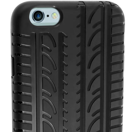"iGadgitz Black Tyre Tread TPU Gel Skin Case Cover for Apple iPhone 6 & 6S 4.7"" + Screen Protector Thumbnail 6"
