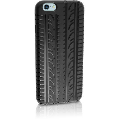 "iGadgitz Black Tyre Tread TPU Gel Skin Case Cover for Apple iPhone 6 & 6S 4.7"" + Screen Protector Thumbnail 2"