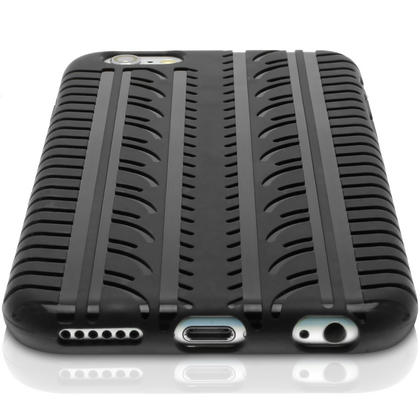 "iGadgitz Black Tyre Tread TPU Gel Skin Case Cover for Apple iPhone 6 & 6S 4.7"" + Screen Protector Thumbnail 3"
