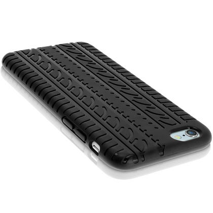"""iGadgitz Black Tyre Tread TPU Gel Skin Case Cover for Apple iPhone 6 & 6S 4.7"""" + Screen Protector Thumbnail 4"""