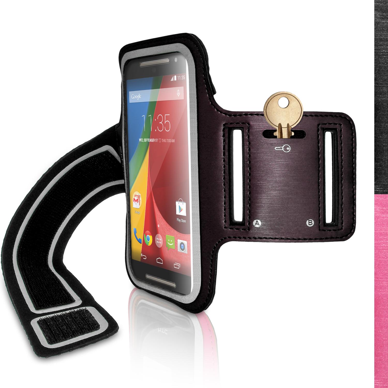 iGadgitz Reflective Anti-Slip Sports Jogging Gym Armband for Motorola Moto G 2nd (2014) & 3rd Gen (2015) with Key Slot