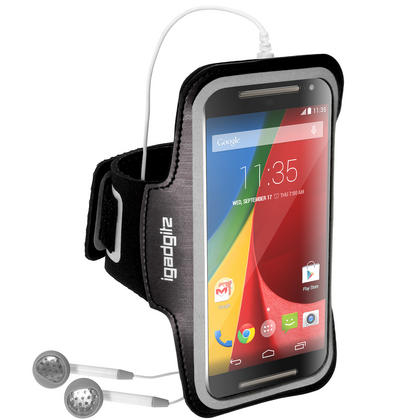 iGadgitz Reflective Anti-Slip Sports Jogging Gym Armband for Motorola Moto G 2nd (2014) & 3rd Gen (2015) with Key Slot Thumbnail 2