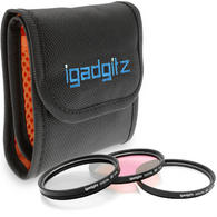 iGadgitz Xtra 58mm 3 piece Glass Multi-Coated UV + CPL + FLD Lens Filter Kit with Pouch for SLR & DSLR Cameras