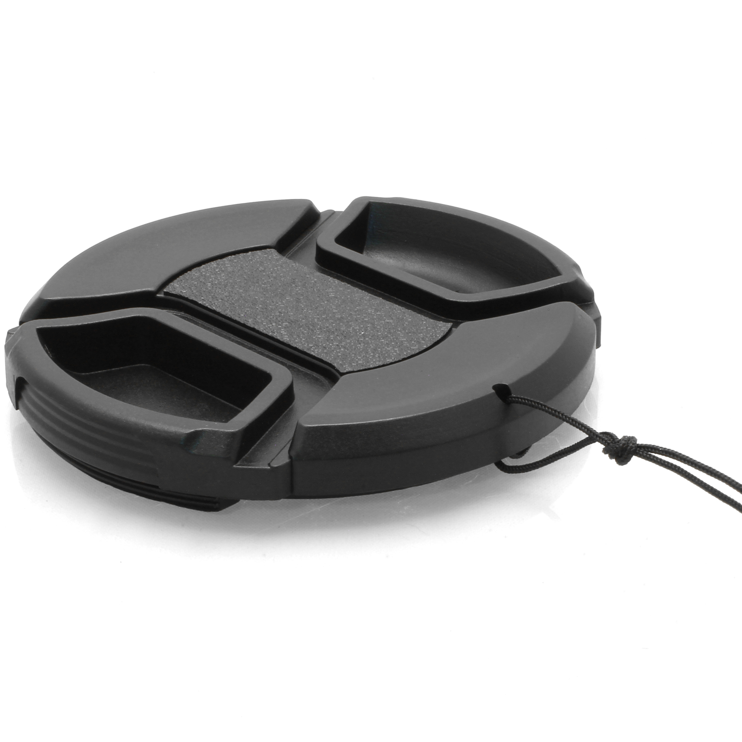 iGadgitz Xtra 62mm Centre Pinch Snap-On Lens Hood Cap Cover with Cord for SLR & DSLR Cameras