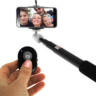 iGadgitz Combo Pack of Extendable Selfie Stick + Bluetooth Remote Shutter Control (Suitable for most Mobile Phones)