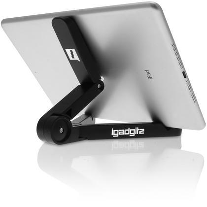 iGadgitz Black Adjustable Tablet Plastic Holder Stand (iPad Air Mini, Samsung Tab, Sony Xperia Tablet, ASUS, Kobo etc) Thumbnail 2