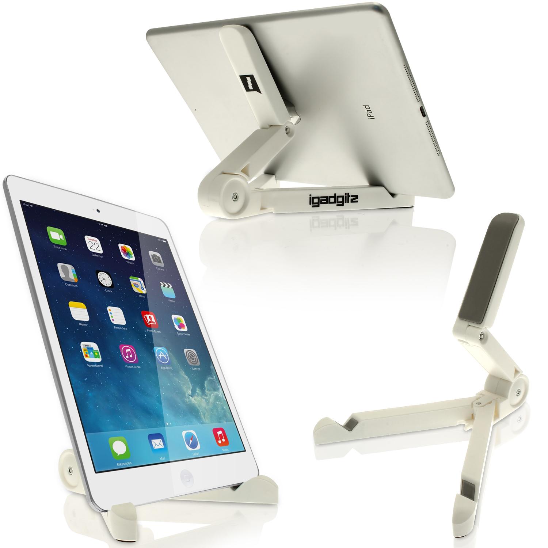 iGadgitz White Adjustable Tablet Plastic Holder Stand (iPad Air Mini, Samsung Tab, Sony Xperia Tablet, ASUS, Kobo etc)