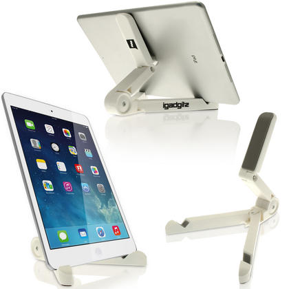 iGadgitz White Adjustable Tablet Plastic Holder Stand (iPad Air Mini, Samsung Tab, Sony Xperia Tablet, ASUS, Kobo etc) Thumbnail 1