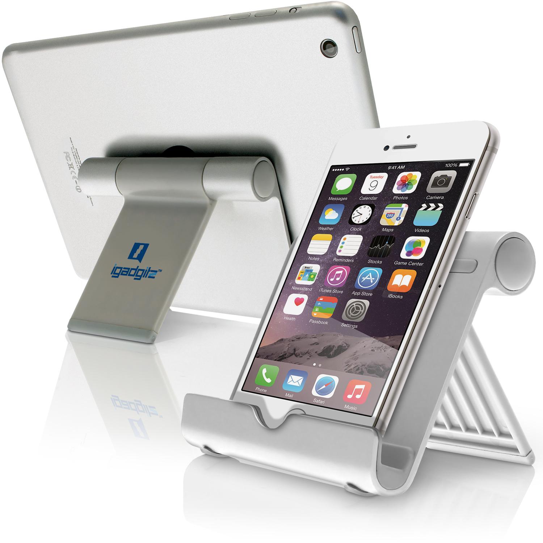 iGadgitz Aluminium Adjustable Tablet & Smartphone Holder Stand (iPhones iPad Motorola Samsung Sony Xperia HTC etc)