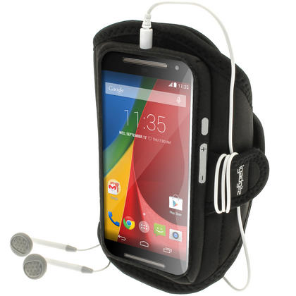 iGadgitz Water Resistant Sports Jogging Gym Armband for Motorola Moto G 2nd Generation & Moto G 3rd Generation Thumbnail 1