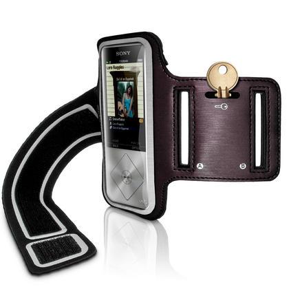 iGadgitz Reflective Anti-Slip Black Sports Jogging Gym Armband for Sony Walkman NWZ-A15 NWZ-A17 NW-A25 NW-A27 Thumbnail 1