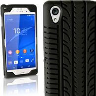 iGadgitz Black Tyre Tread Silicone Rubber Gel Skin Case Cover for Sony Xperia Z3 D6603 + Screen Protector